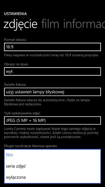 Lumia Camera 5 długie przytrzymanie klawisza aparatu w Windows Phone 8.1 Update 1 (Lumia Denim)