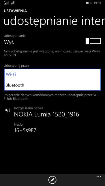 Udostępnianie internetu przez Bluetooth w Windows Phone 8.1 Update 1 (Lumia Denim)