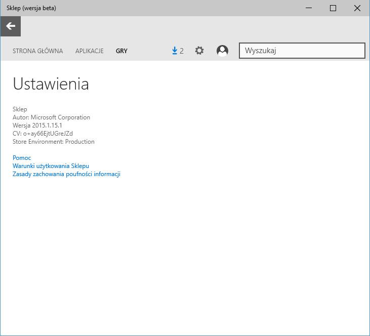 Sklep beta - informacje o wersji