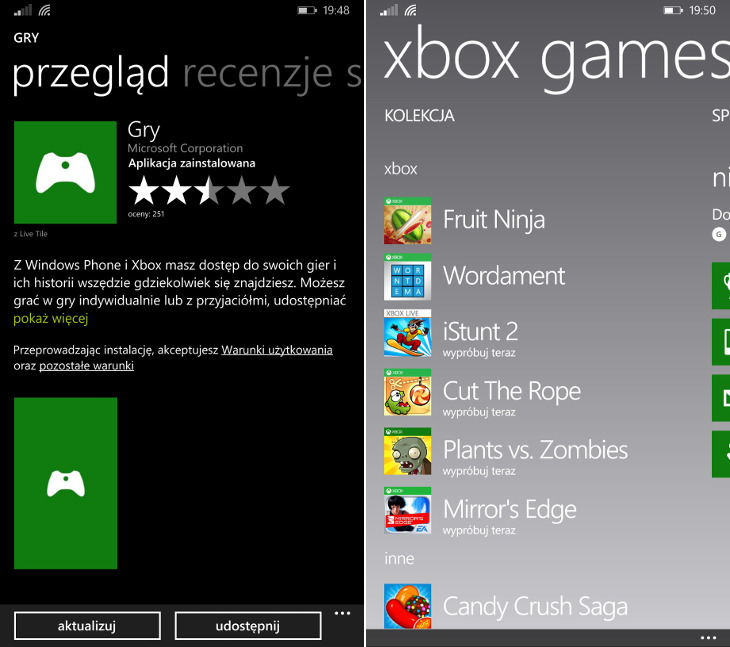 Centrum gier Xbox Windows Phone