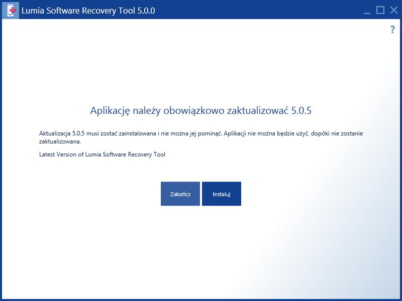 Aktualizacja Lumia Software Recovery Tool