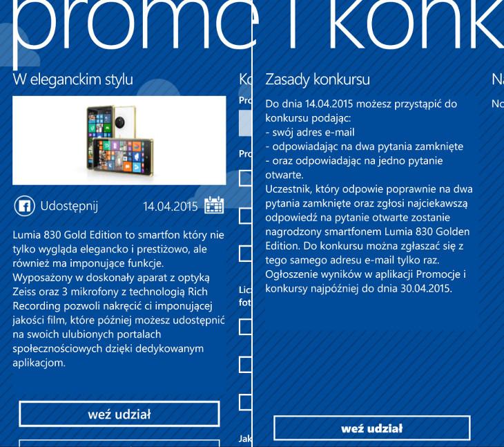 Lumia 830 Gold - konkurs