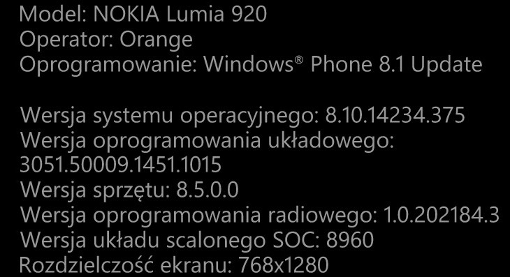 Nokia Lumia 920 Windows Phone 8.10.14234.375