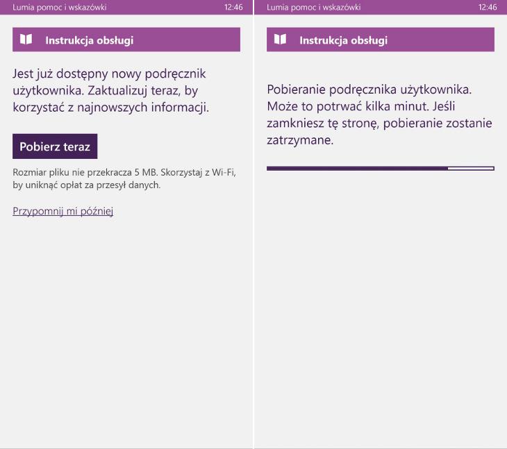 Lumia pomoc i wskazówki - aktualizacja instrukcji obsługi