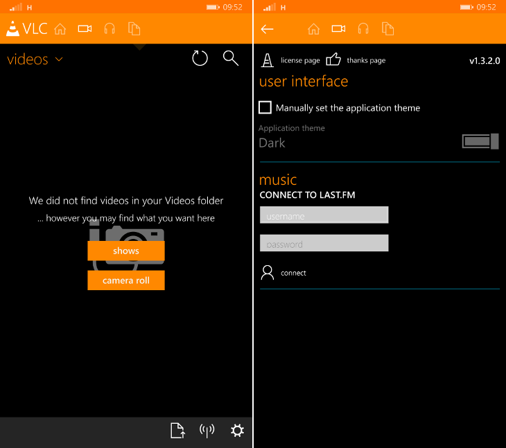VLC 1.3.2 Windows Phone