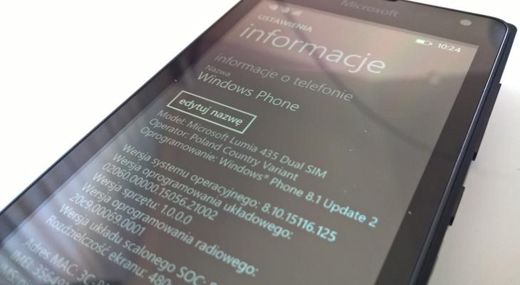 Windows Phone 8.1 Update 2 - Microsoft Lumia 435 Dual SIM CV PL