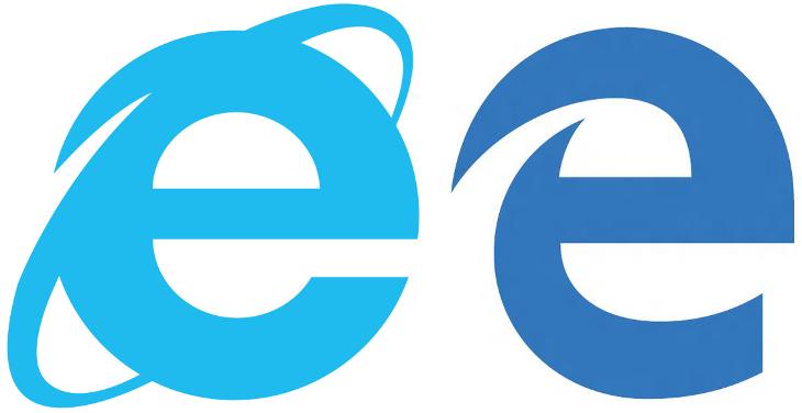 Porównanie logo - Internet Explorer vs Microsoft Edge