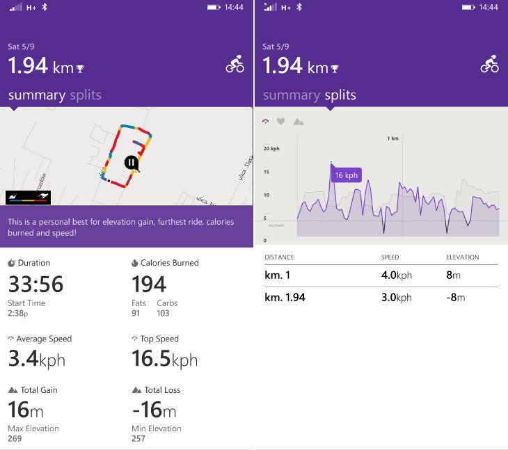 Microsoft Health - trening rowerowy