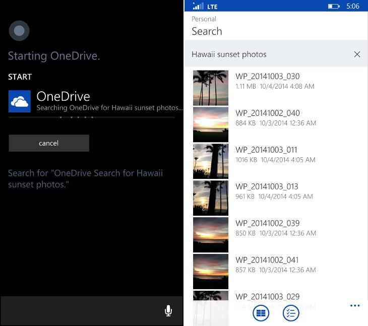 OneDrive Cortana