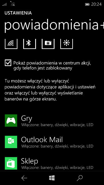 Powiadomienia LED - Windows 10 Mobile