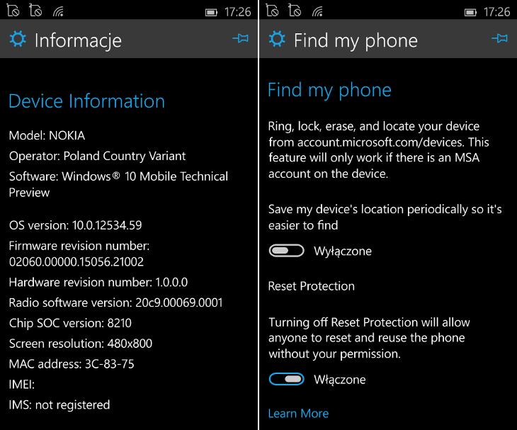 Ochrona przed zresetowaniem w Windows 10 Mobile