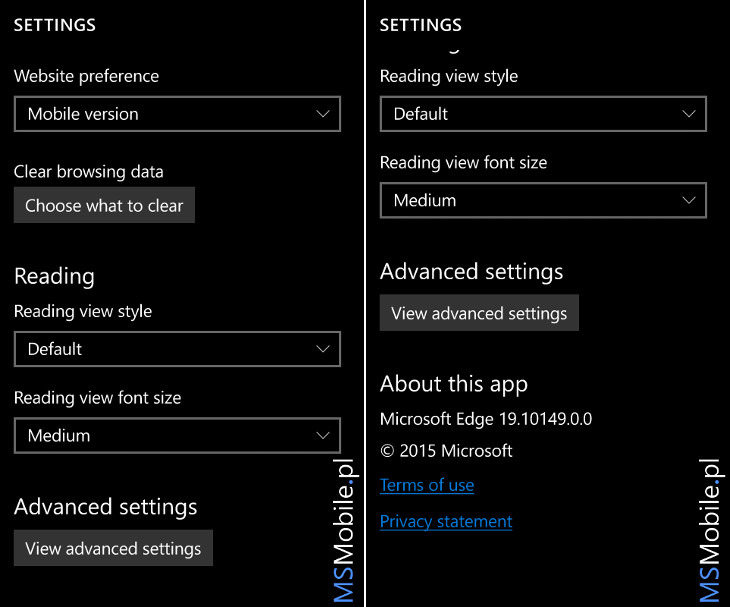 Windows 10 Mobile Build 10149 ustawienia Microsoft Edge