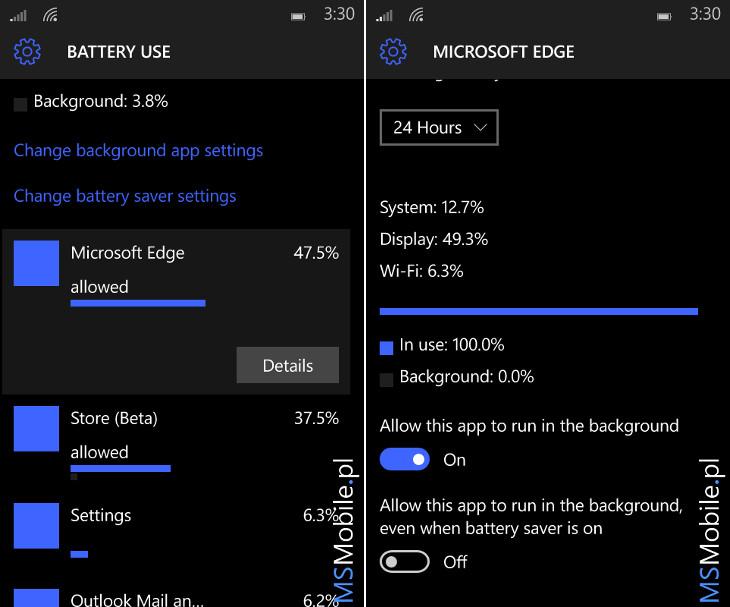 Windows 10 Mobile - oszczędzanie baterii