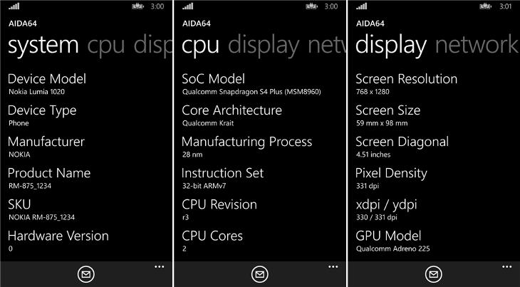 AIDA64 Windows Phone