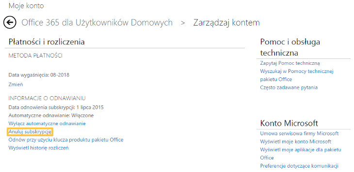 Anulowanie subskrypcji Office 365