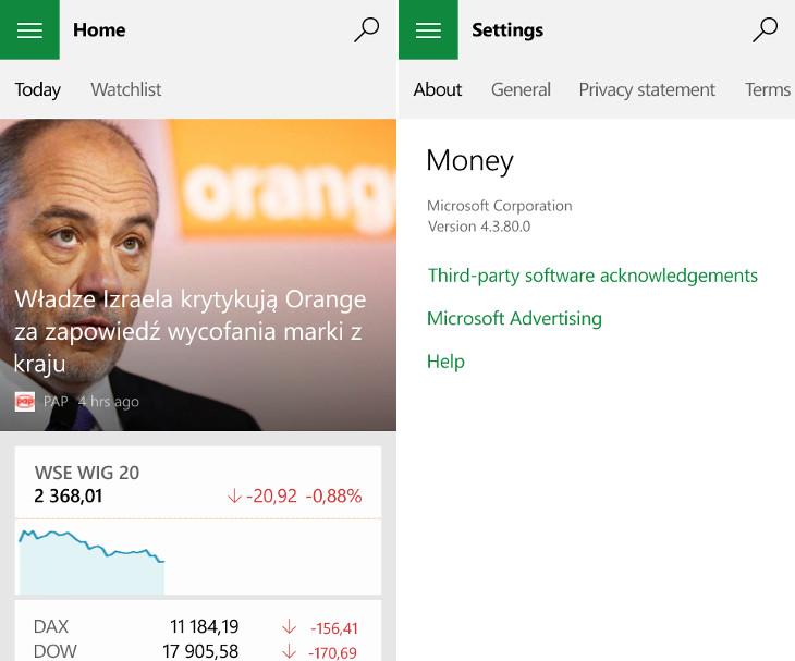 MSN Money dla Windows 10 Mobile