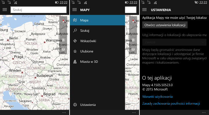 Mapy 4.1505.50.523.0 dla Windows 10 Mobile