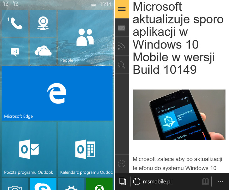 Microsoft Edge Windows 10 Mobile Build 10149