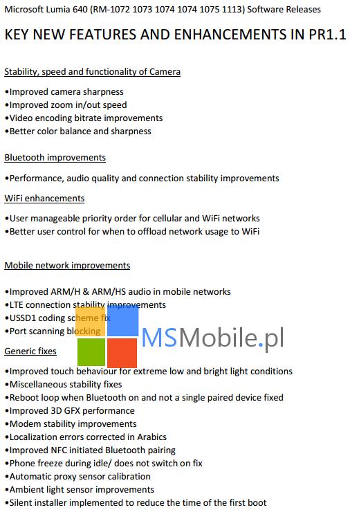Nowości i usprawnienia w najnowszym oprogramowaniu Lumia 640