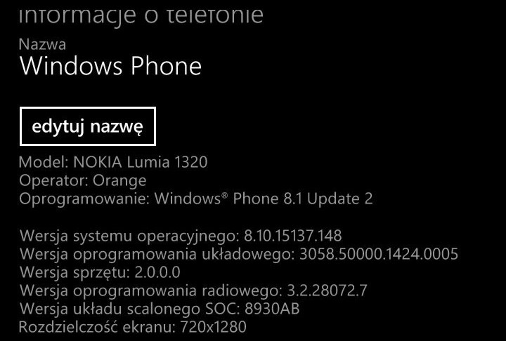 Nokia Lumia 1320 - Windows Phone 8.1 Update 2