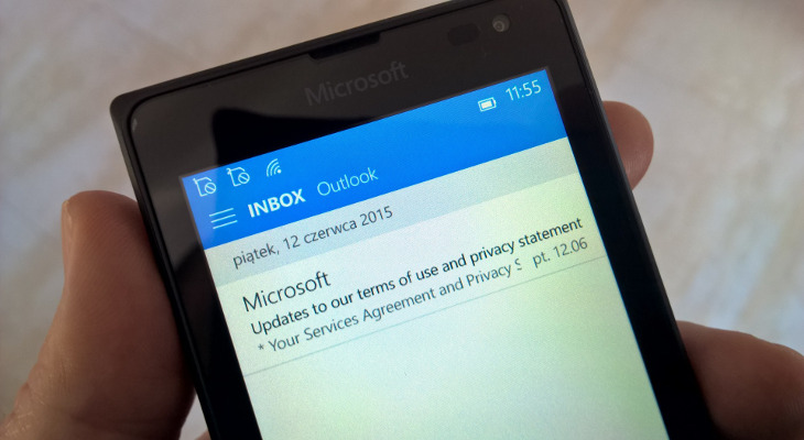 Outlook Mail w Windows 10 Mobile  na Microsoft Lumia 435 Dual SIM