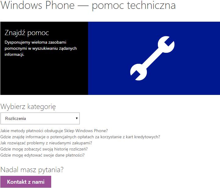 Pomoc techniczna Windows Phone