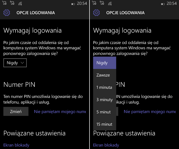 Ustawienia PIN w Windows 10 Mobile