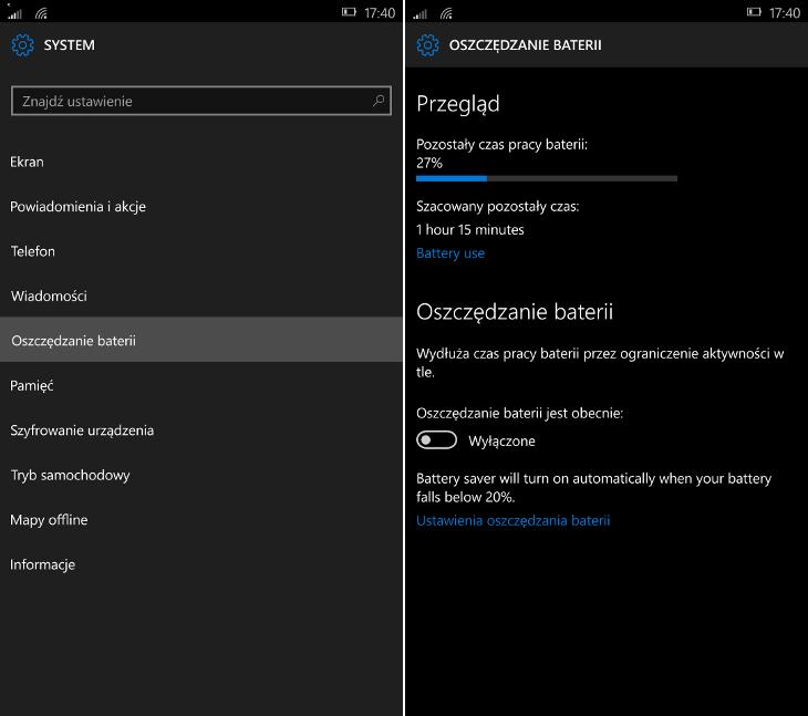 Ustawienia oszczędzania baterii w Windows 10 Mobile