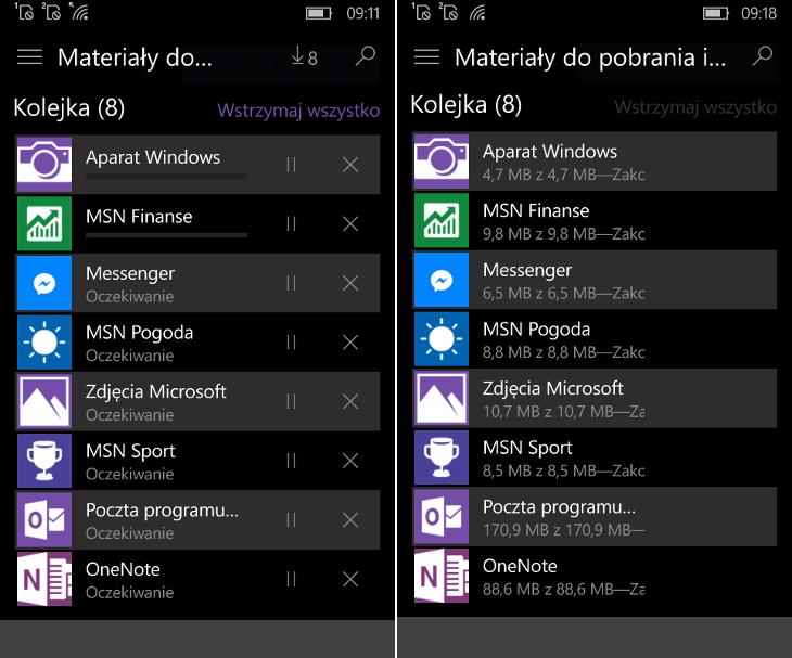 Aktualizacje aplikacji Windows 10 Mobile