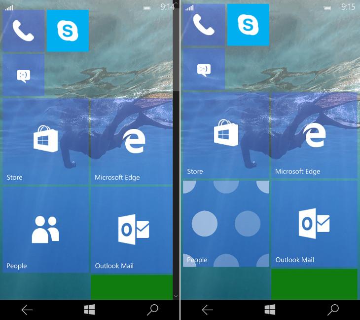Ekran startowy Windows 10 Mobile Build 10158