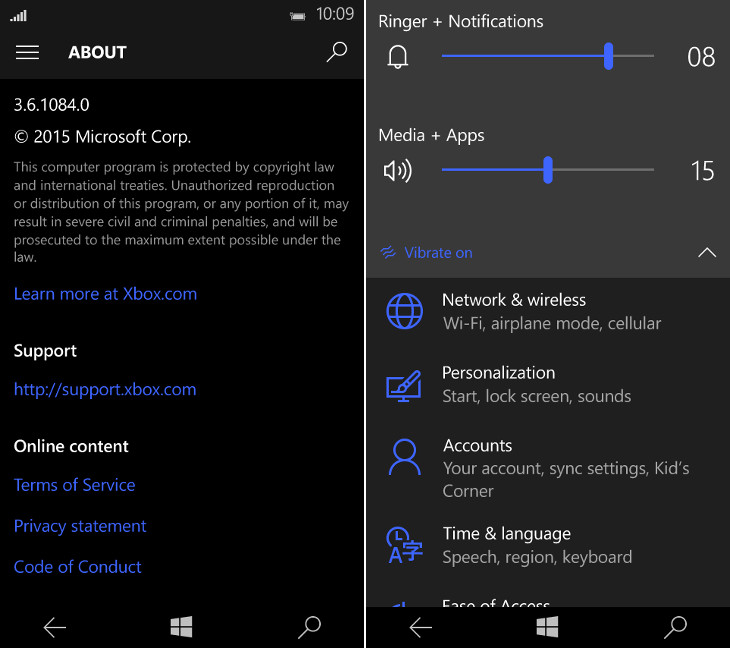 Muzyka i głośność Windows 10 Mobile Build 10158