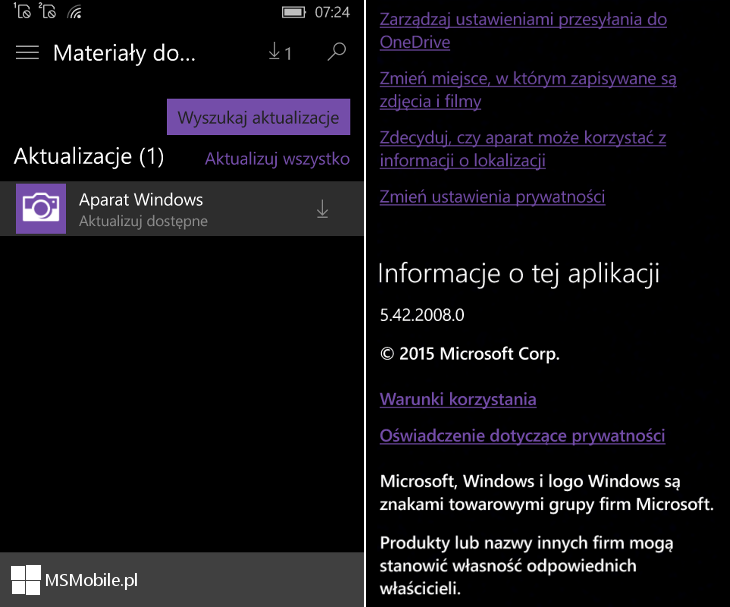 Aparat Windows 5.42.2008.0 dla Windows 10 Mobile