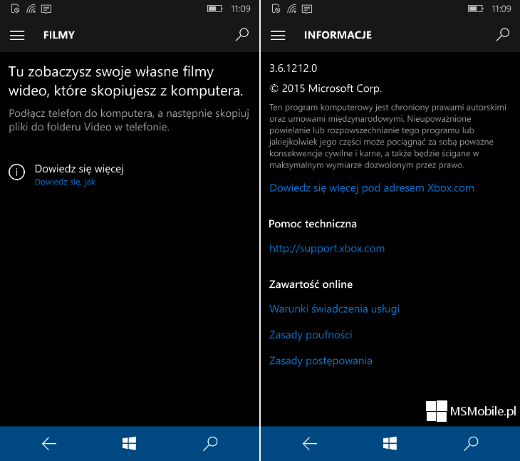 Filmy i telewizja Windows 10 Mobile