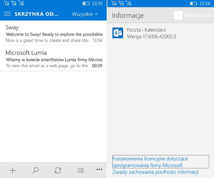 Poczta i Kalendarz 17-6106-42002-0 dla Windows 10 Mobile