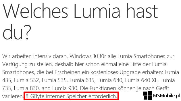 Windows 10 Mobile wymaga 8GB wbudowanej pamięci