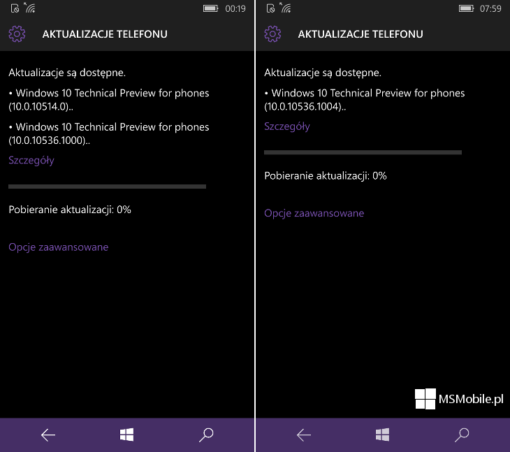 Aktualizacja Windows 10 Mobile Build 10536.1004