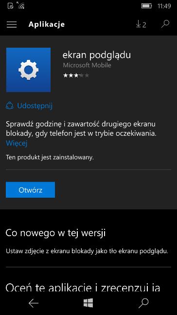 Ekran podglądu w Sklepie Windows