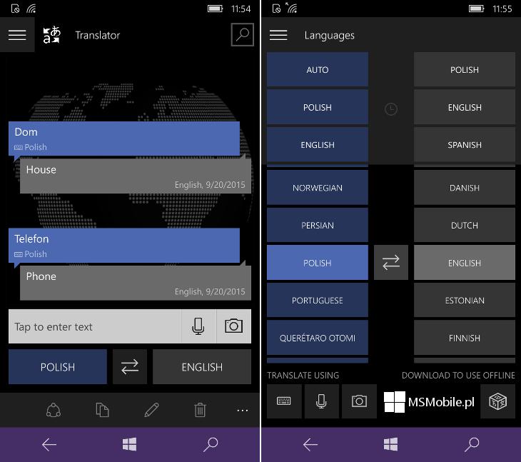 Translator 10 Beta dla Windows 10 Mobile