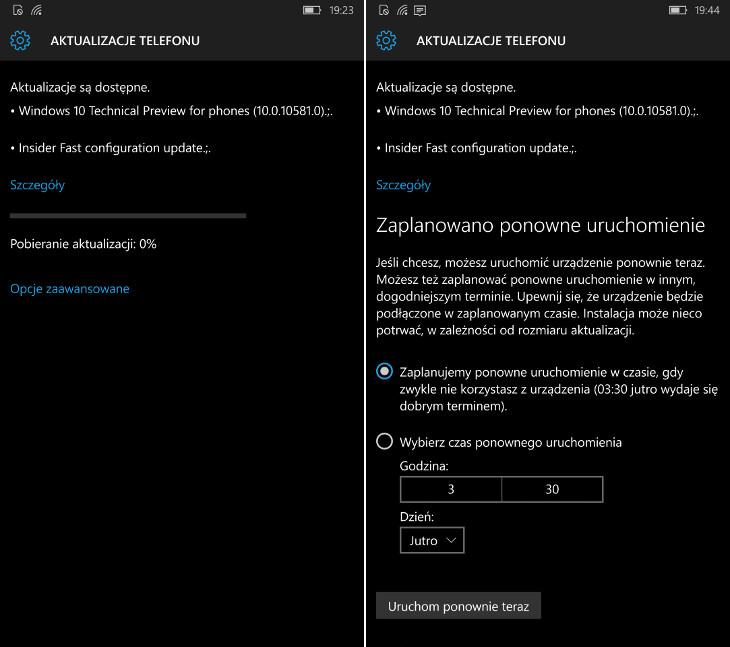 Aktualizacja Windows 10 Mobile Build 10581