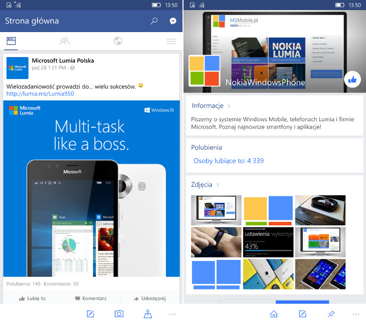 Facebook Beta dla Windows 10 Mobile