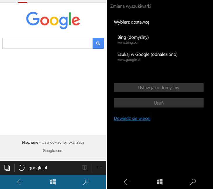 Google w Microsoft Edge