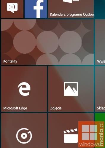Kafelek Kontakty - Windows 10 Mobile
