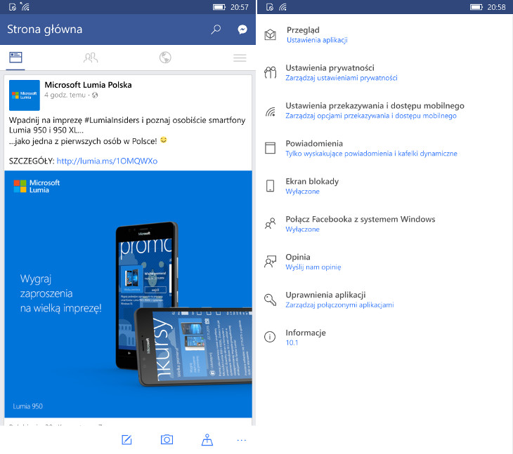 Facebook dla Windows 10 Mobile