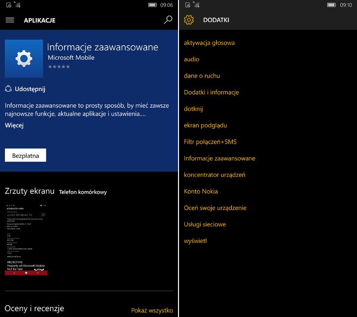 Informacje zaawansowane Windows 10 Mobile