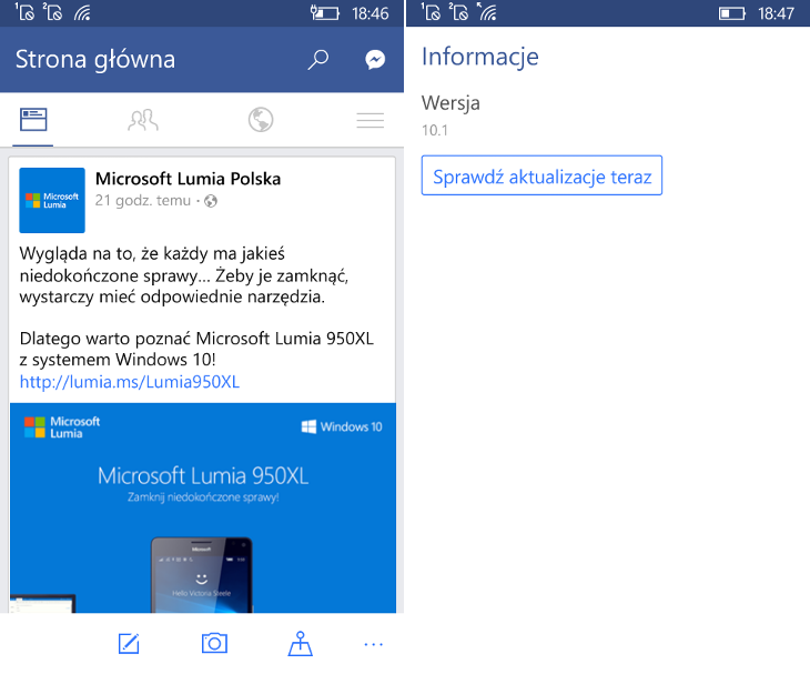 Facebook 10.1 dla Windows 10 Mobile