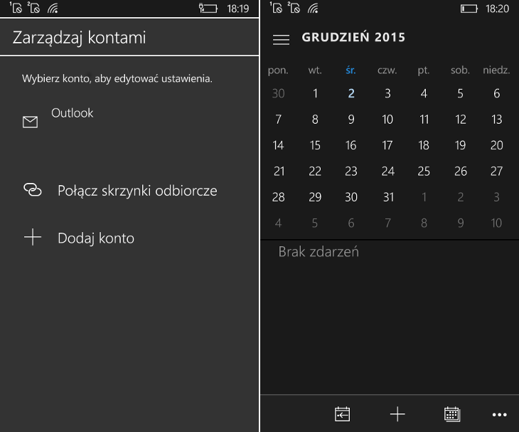 Poczta i Kalendarz programu Outlook dla Windows 10 Mobile