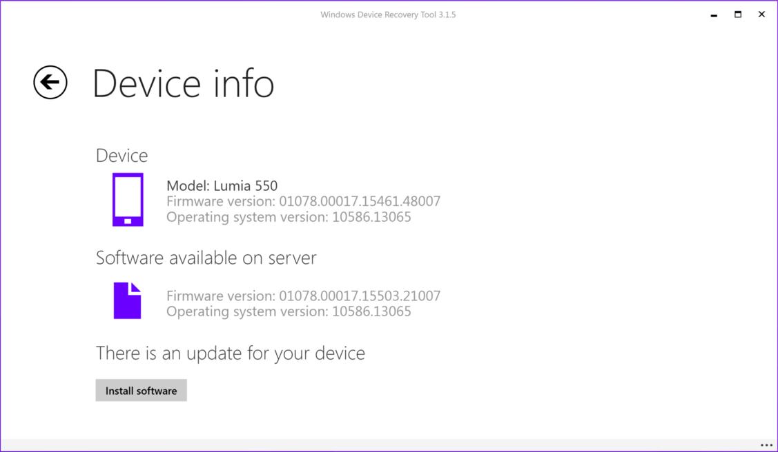 Lumia 550 - oprogramowanie układowe