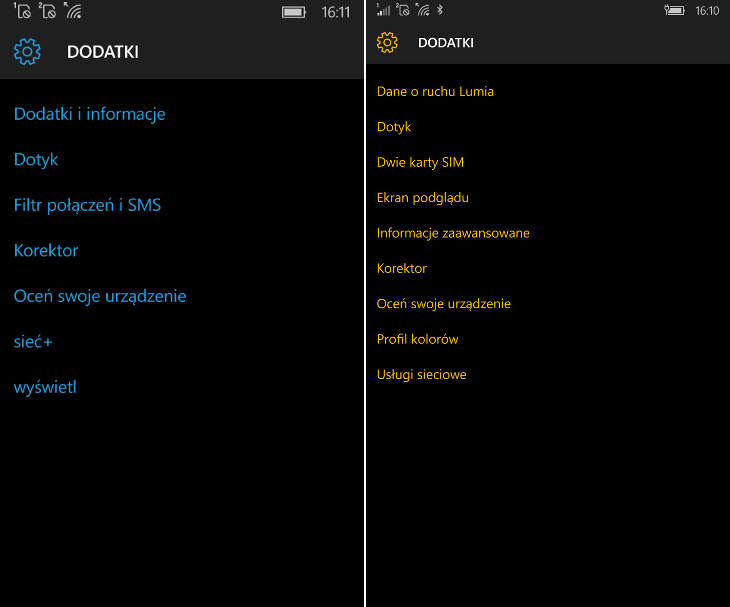 Dodatki Windows 10 Mobile