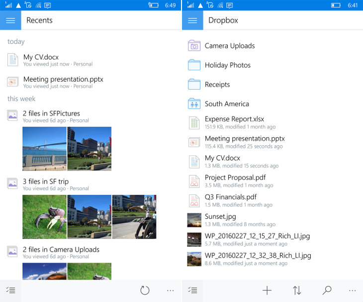 Dropbox Windows 10 Mobile