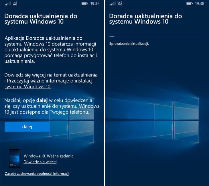 Upgrade Advisor - sprawdzanie aktualizacji Windows 10 Mobile